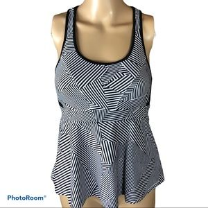 REBECCA MINKOFF geometric peplum workout top